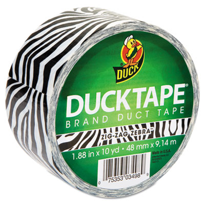"""Colored Duct Tape, 1.88"""" x 10 yds, 3"""" Core, Zebra"""