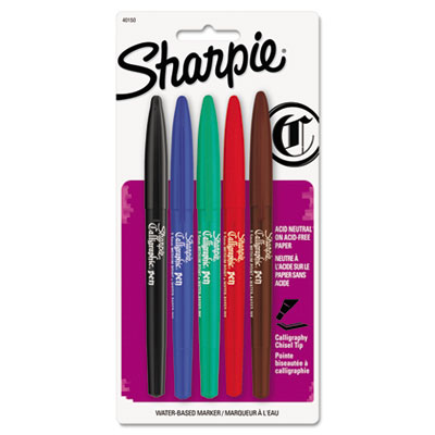 Calligraphic Marker Pen Set, Assorted Ink, Medium, 5 per Pack