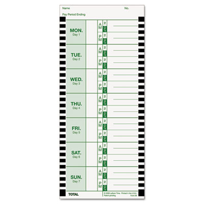Time Card for Lathem Model 800P, 4 x 9, Weekly, 1-Sided, 100/Pac