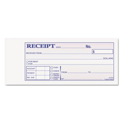 Money and Rent Receipt Books, 2-3/4 x 7-3/16, 2-Part Carbonless,