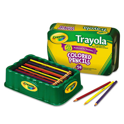 Colored Wood Pencil Trayola, 3.3 mm, 9 Assorted Colors, 54 Penci