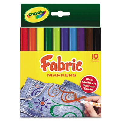Fabric Markers, 10 Assorted Bright Colors, 10/Set