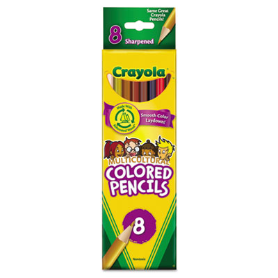 Multicultural Colored Woodcase Pencils, 3.3 mm, 8 Assorted Color