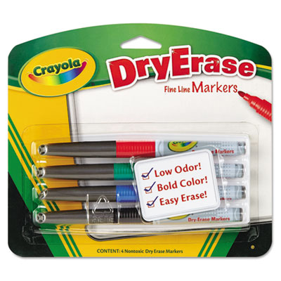 Dry Erase Markers, Chisel Tip, Assorted Colors, 4/Set