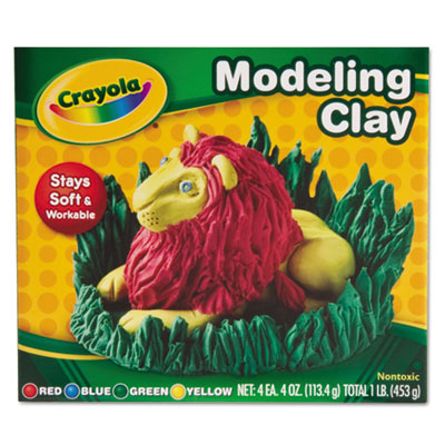 Modeling Clay Assortment, 1/4 lb each Blue/Green/Red/Yellow, 1 l