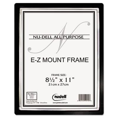EZ Mount II Document Frame, Plastic, 8-1/2 x 11, Black/Silver