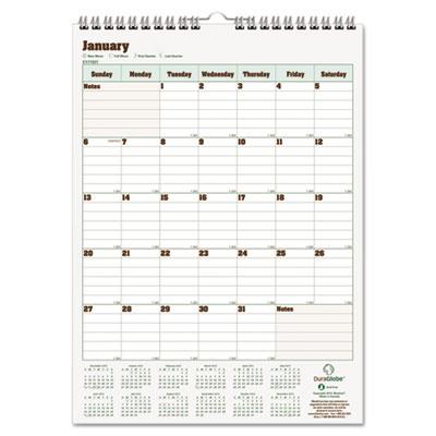 Blueline DuraGlobe Monthly Wall Calendar, 12 x 17, 2015