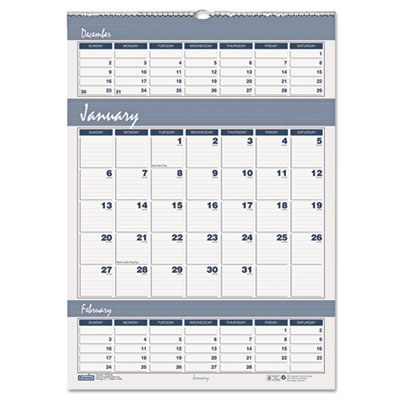 Bar Harbor Wirebound Three-Months-per-Page Wall Calendar, 12 x 1