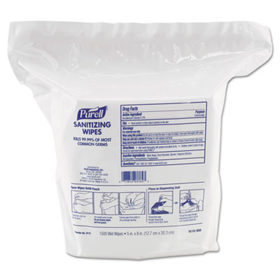"Premoistened Sanitizing Wipes, Nonwoven Fiber, 5"" x 8"", 1500/Ref"