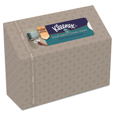 KLEENEX Folded Hand Towels, White, in Dispenser Box, 60/Box, 12