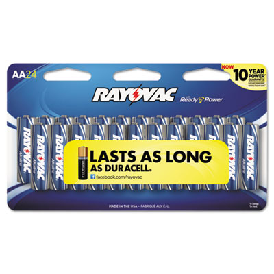 Alkaline Batteries, AA, Peggable Large Card, 24/Pk