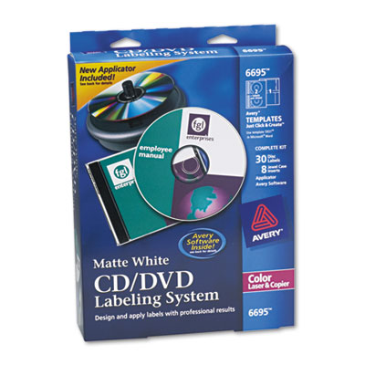 CD/DVD Design Kit, Matte White, 30 Laser Labels and 8 Inserts