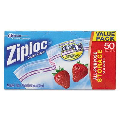 Double Zipper Storage Bags, 9 3/5 x 8 1/2, 1 qt, 1.75mil, 9/Cart