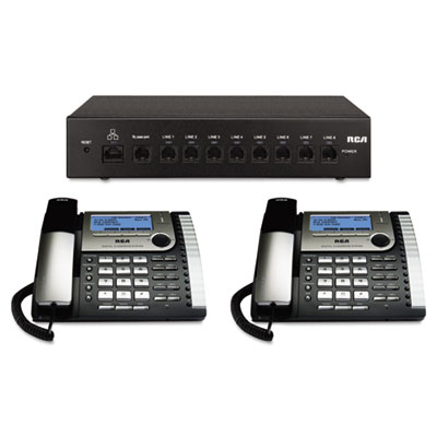 25800 Eight-Line Corded Office Phone System, Router and 2 Corded