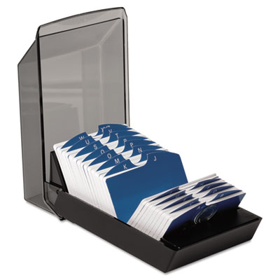 Covered Tray Card File w/24 A-Z Guides Holds 500 2 1/4 x 4 Cards
