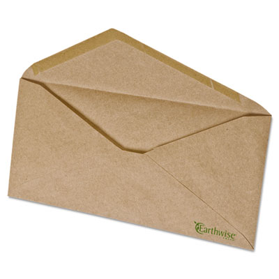 100% Recycled Paper Envelope, V-Flap, #10, Natural Brown, 500/Bo