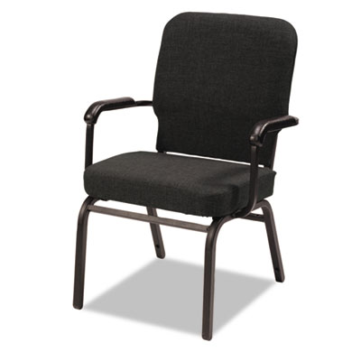 Oversize Stack Chair with Arms, Black Fabric Upholstery, 2/Carto