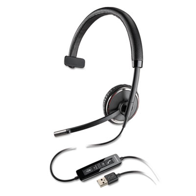 Blackwire C510-M Monaural Over-the-Head Corded Headset, Microsof