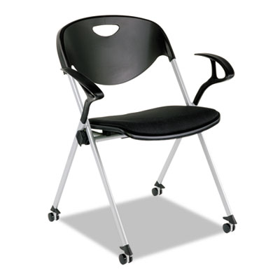 SL Series Nesting Stack Chair with Loop Arms and Casters, Black,