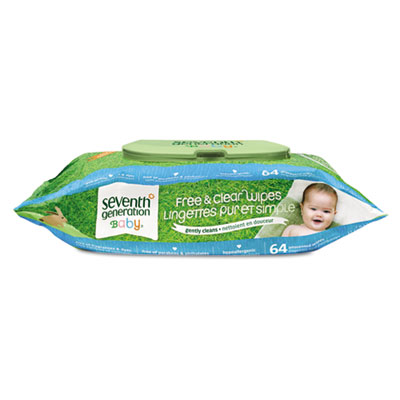 Free & Clear Baby Wipes, White, Unscented, 64/Pack