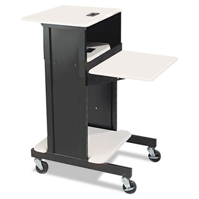 Adjustable Presentation Cart, 18w x 30d x 40-1/4h, Black/Gray