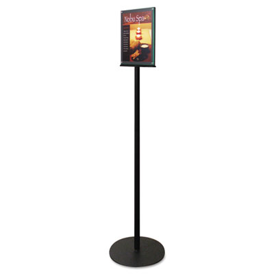 "Double-Sided Magnetic Sign Stand, 8 1/2 x 11, 56"" High, Silver"