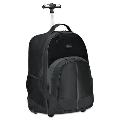 Compact Rolling Backpack, 19 1/3 x 7 1/2 x 13 4/10, Polyester, B