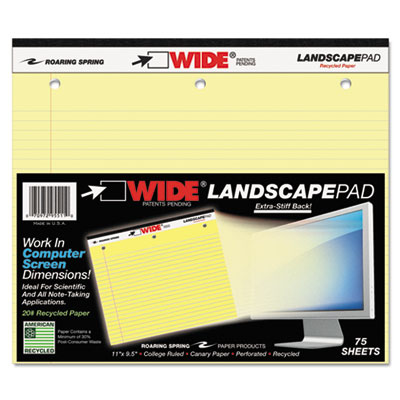 Landscape Format Writing Pad, College Ruled, 11 x 9-1/2, Canary,