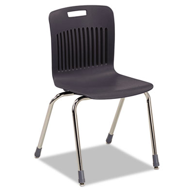 Analogy Extra-Large Ergonomic Stack Chair, Black/Chrome, 4/Carto