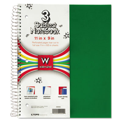 3-Subject, Poly Notebook, 8 x 11, , College Rule, Assorted, 120