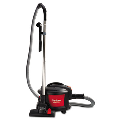 "Quiet Clean Canister Vacuum, Red/Black, 9.0 Amp, 11"" Cleaning Pa"