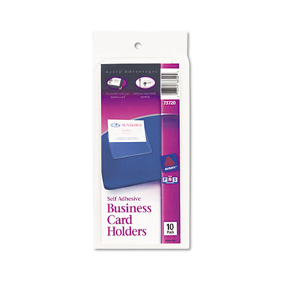 Self-Adhesive Business Card Holders, Top Load, 3-1/2 x 2, Clear,