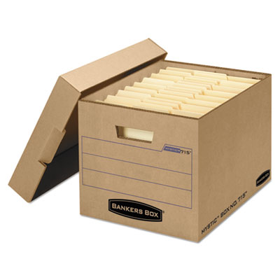 Filing Storage Box with Locking Lid, Letter/Legal, Kraft, 25/Car