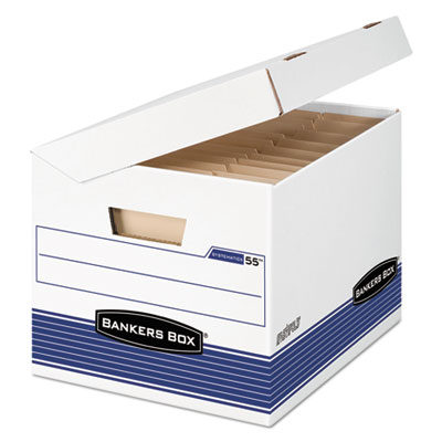 FastFold Flip Top File Storage Box, Letter/Legal, White/Blue, 12