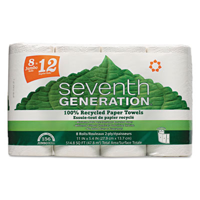 100% Recycled Paper Towel Rolls, 2-Ply, White, 156 Sheets/Roll,