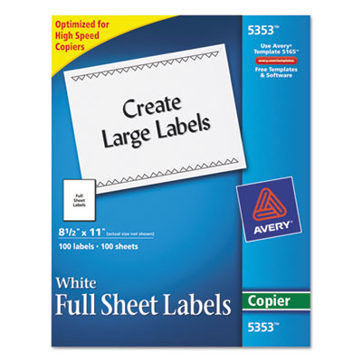 Self-Adhesive Full-Sheet Shipping Labels for Copiers, 8-1/2 x 11