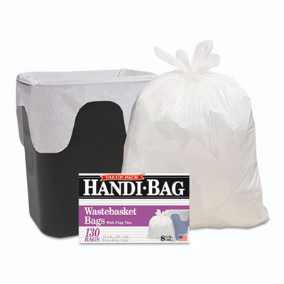 Handi-Bag Super Value Pack, 8gal, .55mil, 22 x 24, White, 130/Bo