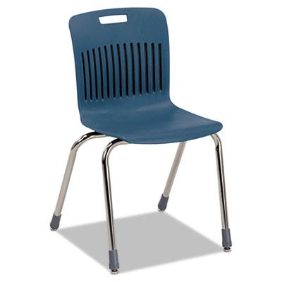 Analogy Ergonomic Stack Chair, Navy/Chrome, 4/Carton