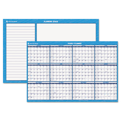 "Horizontal Erasable Wall Planner, Yearly Calendar, 48"" x 32"", 20"