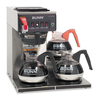 Commercially Rated Automatic Brewer, 12-Cups, 3-Burners, Stainle