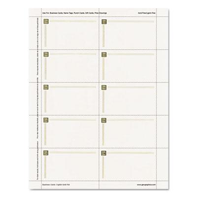 Capital Gold Design Business Cards, 3 1/2 x 2, 65 lb Stock, Ivor