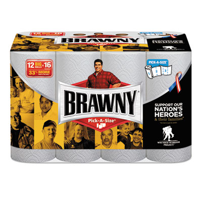 Brawny Paper Towels, White, 102 Sheets/Roll, 12 Rolls/Carton