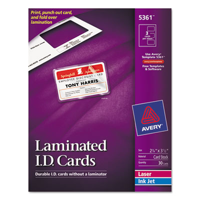 Laminated Laser/Inkjet ID Cards, 2 x 3 1/4, White, 30/Box