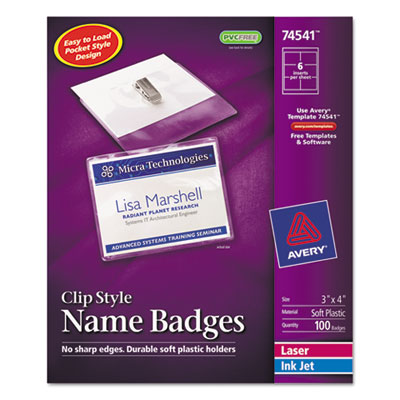 Badge Holder Kit w/Laser/Inkjet Insert, Top Load, 3 x 4, White,