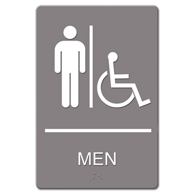 ADA Sign, Men Restroom Wheelchair Accessible Symbol, Molded Plas