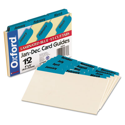 Laminated Tab Index Card Guides, Monthly, 1/3 Tab, Manila, 4 x 6
