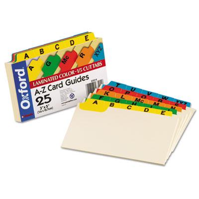 Laminated Index Card Guides, Alpha, 1/5 Tab, Manila, 3 x 5, 25/S