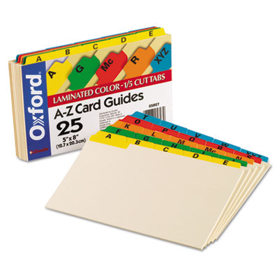Laminated Tab Index Card Guides, Alpha, 1/5 Tab, Manila, 5 x 8,