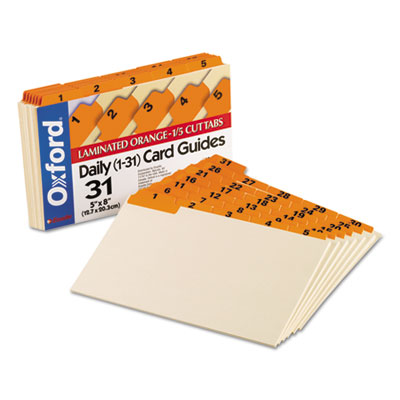 Laminated Tab Index Card Guides, Daily, 1/5 Tab, Manila, 5 x 8,