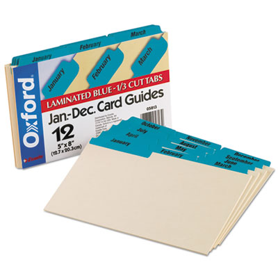 Laminated Tab Index Card Guides, Monthly, 1/3 Tab, Manila, 5 x 8